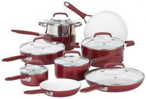 WearEver 2100087606 15 Piece Ceramic Non-stick Red Cookware Set