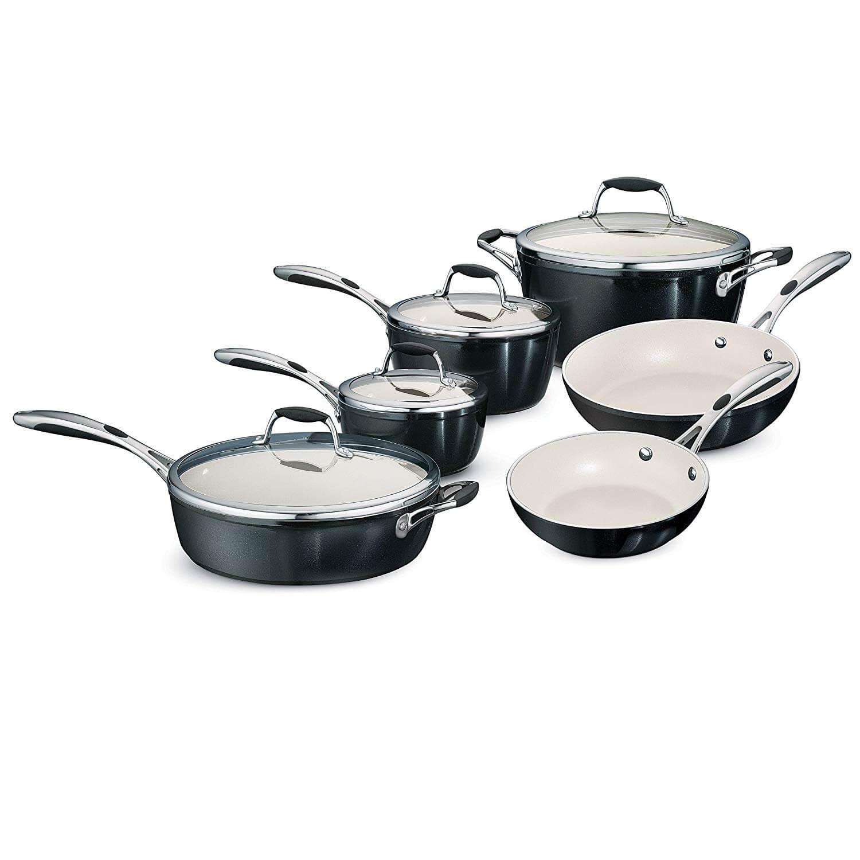 Tramontina 80110 525DS 10 Piece Gourmet Ceramica Deluxe Cookware Set